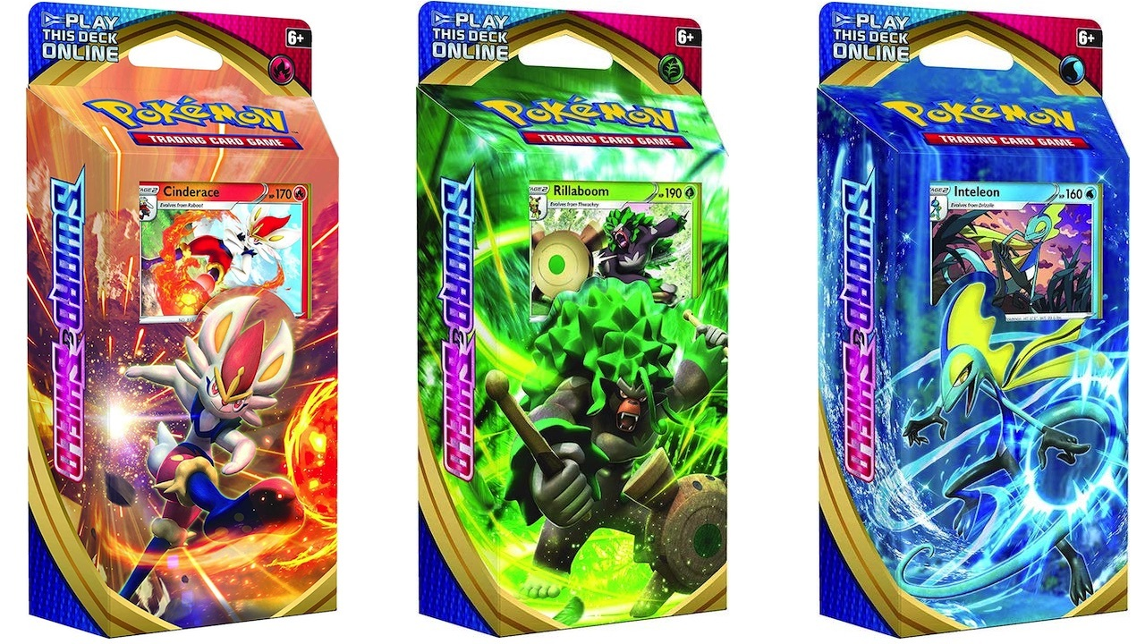 Get a random theme deck featuring a Sword and Shield starter.