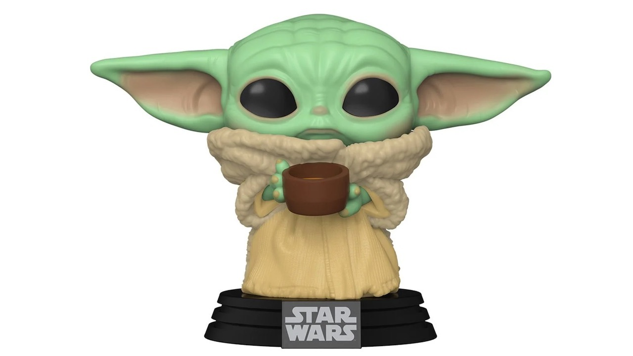 Baby Yoda minding his own business with a hot cup of soup