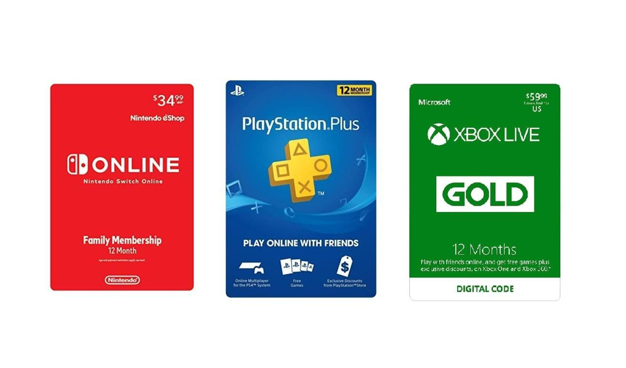 Nintendo Switch Online, PlayStation Plus, and Xbox Live Gold Subscription cards