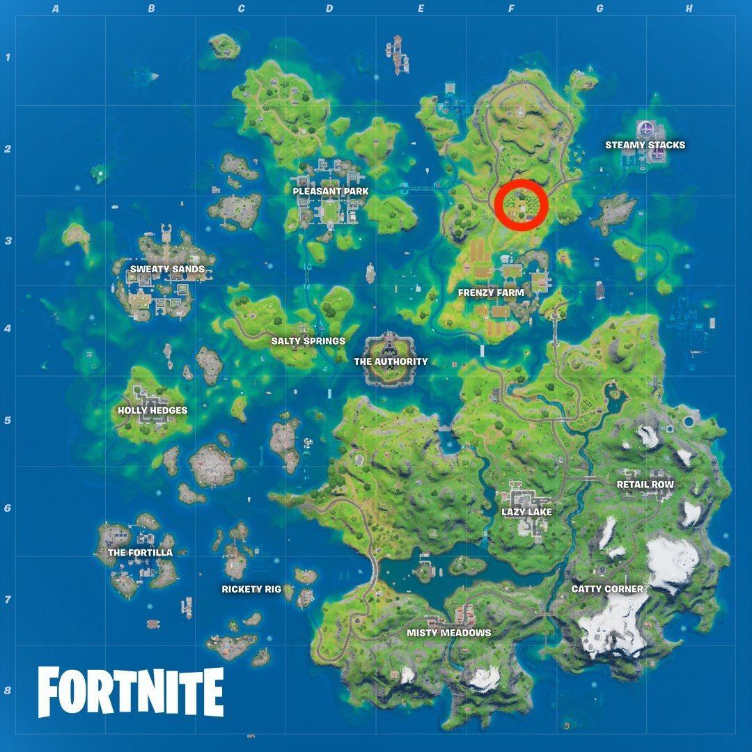 The Orchard's location in Fortnite Season 3