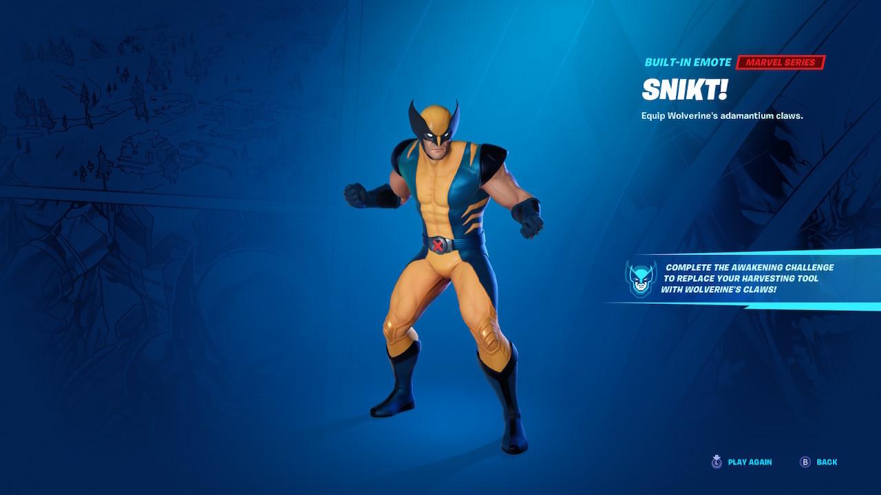 Wolverine Skin and Awakening Challenge Emote