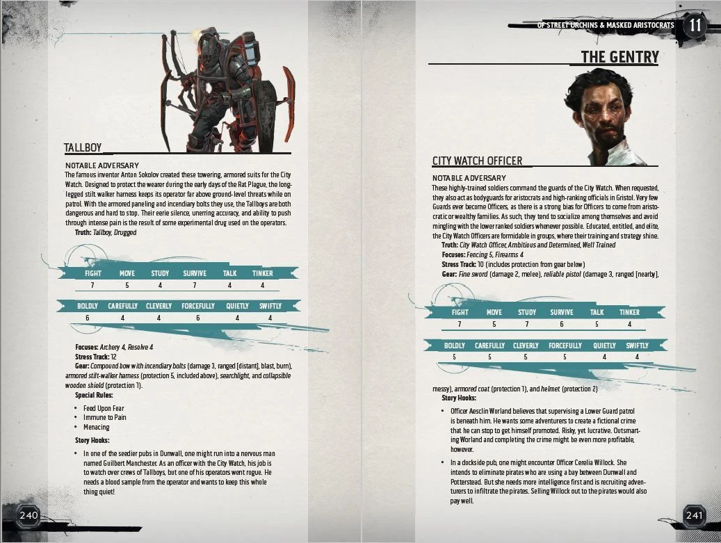 Enemy types from Dishonored: The Roleplaying Game Core Rulebook