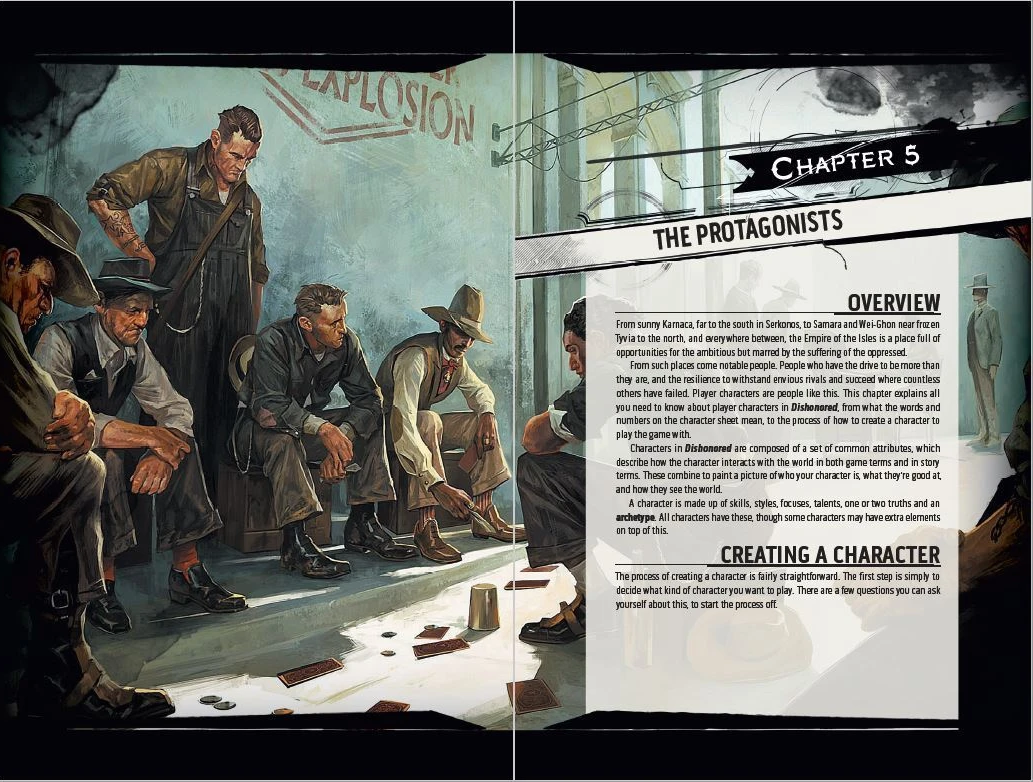 Dishonored: The Roleplaying Game Core Rulebook has all the resources for character creation