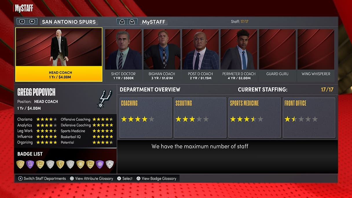The MyStaff system lets players hire team members to better fit their organization to their playstyle