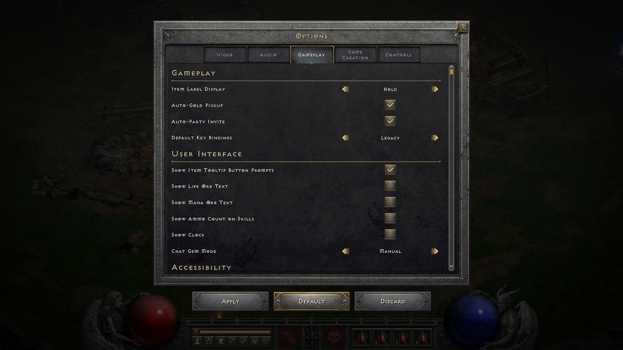 Diablo II: Resurrected gameplay options