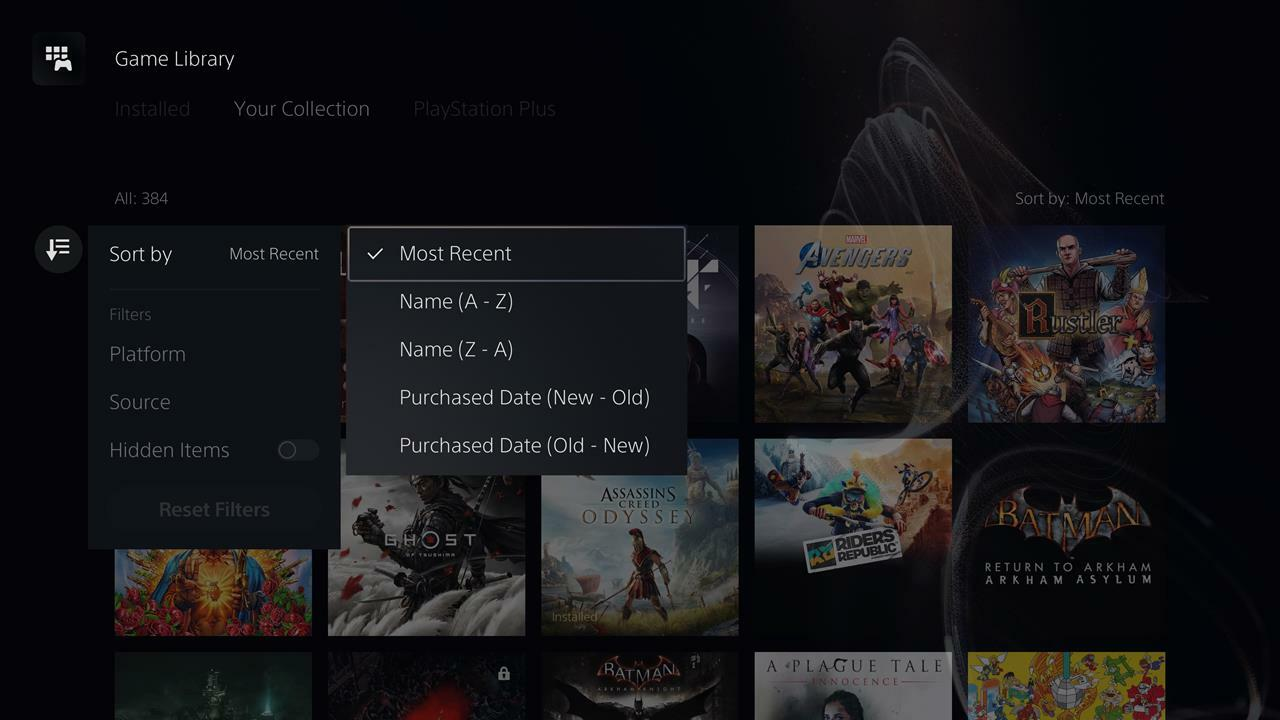 How to filter your PS5 library