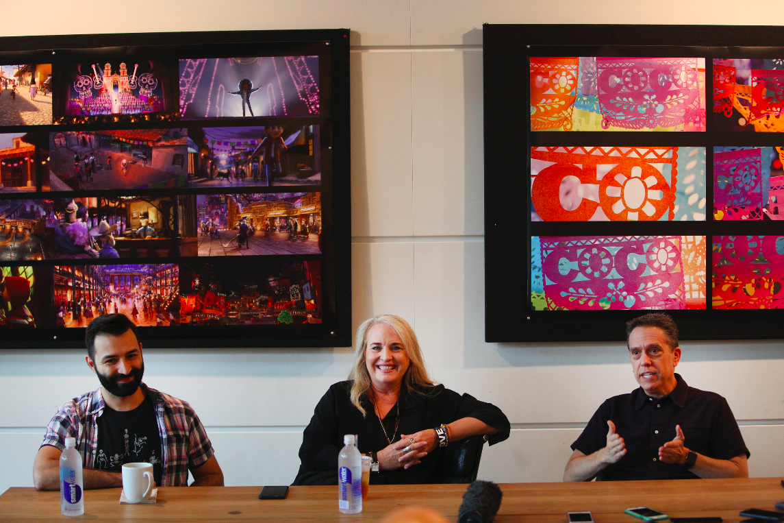 L to R: Adrian Molina, Producer Darla K. Anderson, and Lee Unkrich