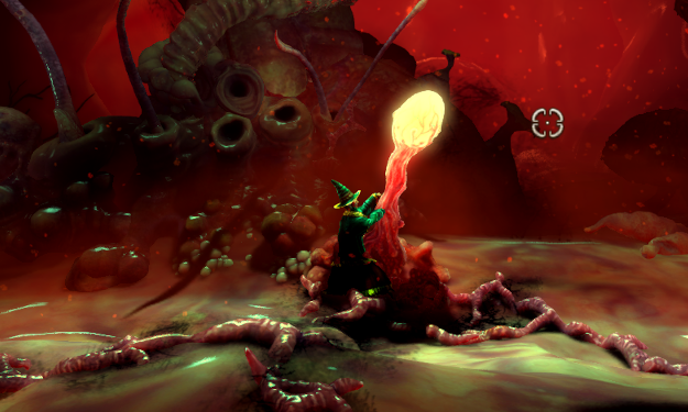 Despite the vastly different aesthetics, the levels in the giant worm's guts have objects with familiar functions, like this lever.
