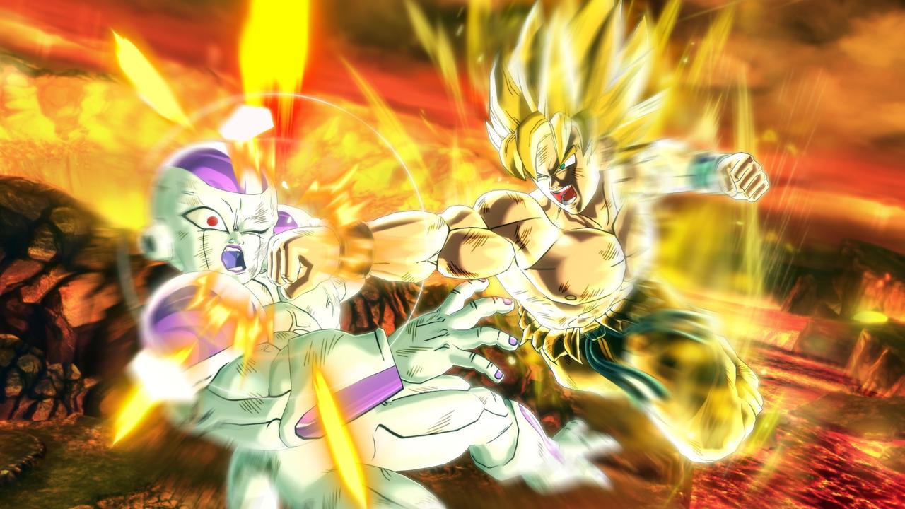 Frieza gets decked by Goku.