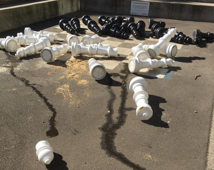Park equipment has been vandalised.