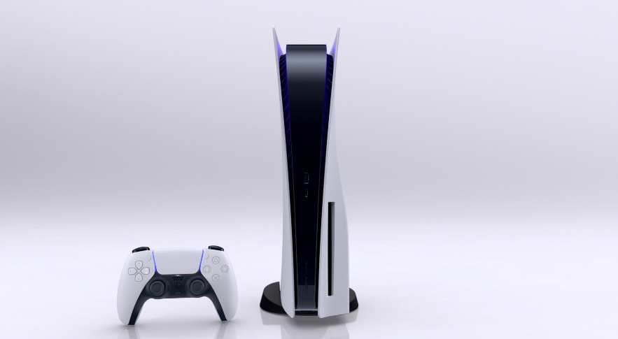 The PlayStation 5 design is very distinctive--and totally different from the Series X.
