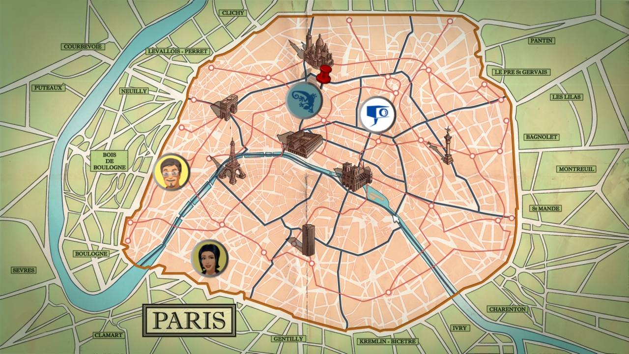 The two sleuths hop back and forth between Paris and London.