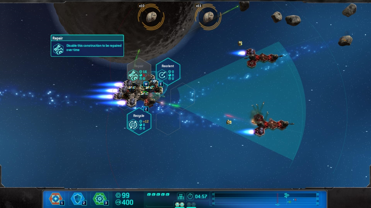 There is a time element in each mission. Build as many thrusters as possible!