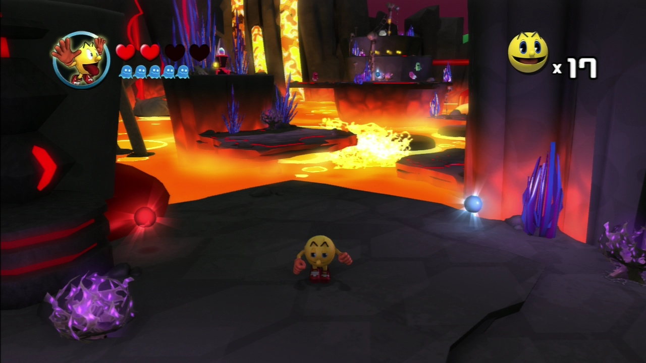 Pac-Man seems ambivalent even surrounded by searing-hot lava.