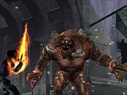The bulky red demon prepares to pound Raziel.