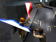 Jedi Outcast's lightsaber battles are the highlight of the game.