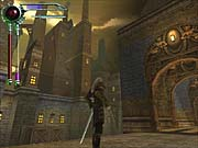 Here, Kain stands before the city of Meridian's industrial sector.