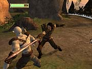 Aragorn takes a swing at an orc.