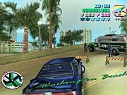 Armed with an MP5, Tommy prepares to take on Vice City SWAT.