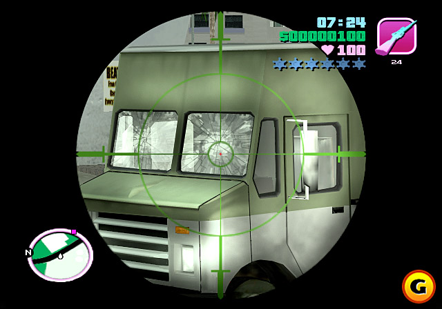 Firing through tires and windshields is a new feature in Vice City, use it well.