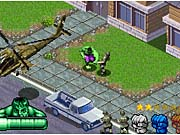 The Hulk mixes it up with a group of soldiers and an attack helicopter.