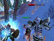 Two warriors take on a skeleton.