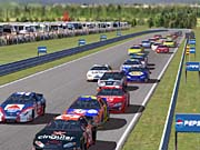 A pack of hungry stock cars readies itself for an upcoming corner on Watkins Glen.