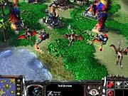 Troll batriders pour liquid fire onto a human settlement.