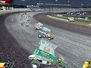 A flock of top-heavy sprint cars drifts through a high-speed turn.