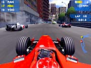 The view above the cockpit is quite realistic, right down to the exhaust clouds thrown off by the cars in front of you.
