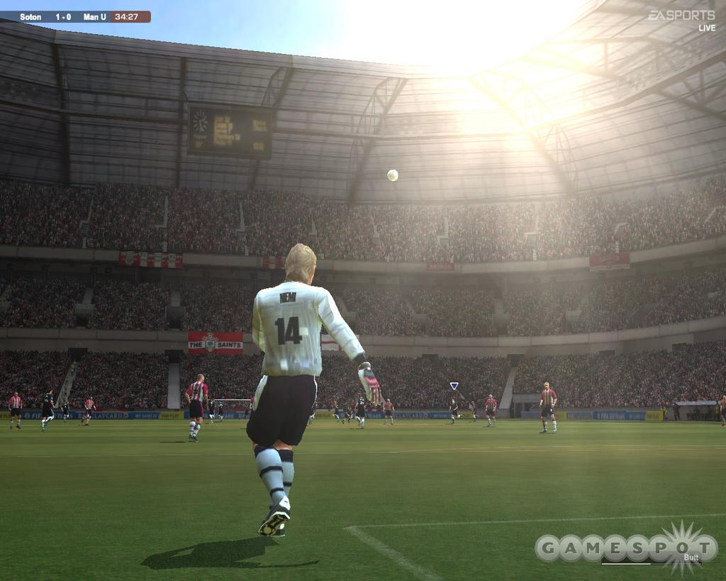 FIFA 2004 doesn't feature any form of precipitation, but it does sport some very convincing sun effects.