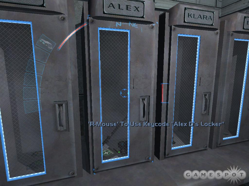 Search Alex D's locker for weapons and equipment. You can also search the other lockers with the help of multitools.