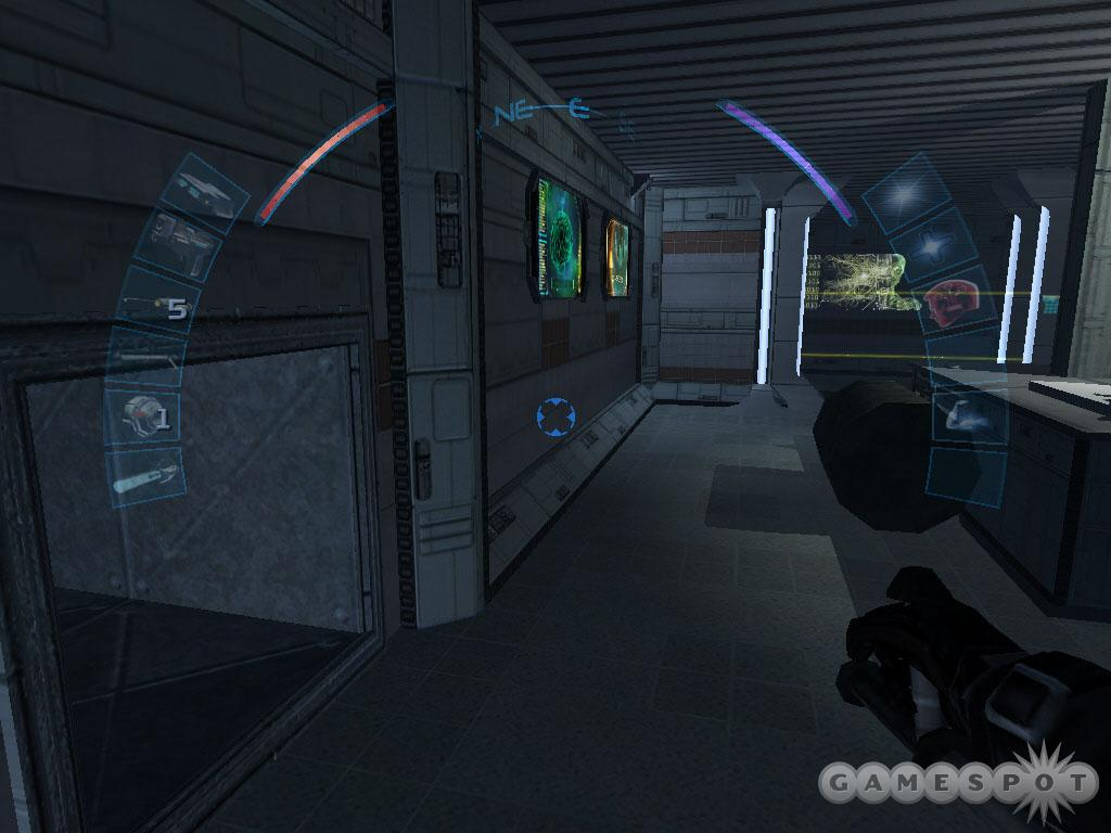 Crawl through the vent shaft on the left to bypass the laser field.