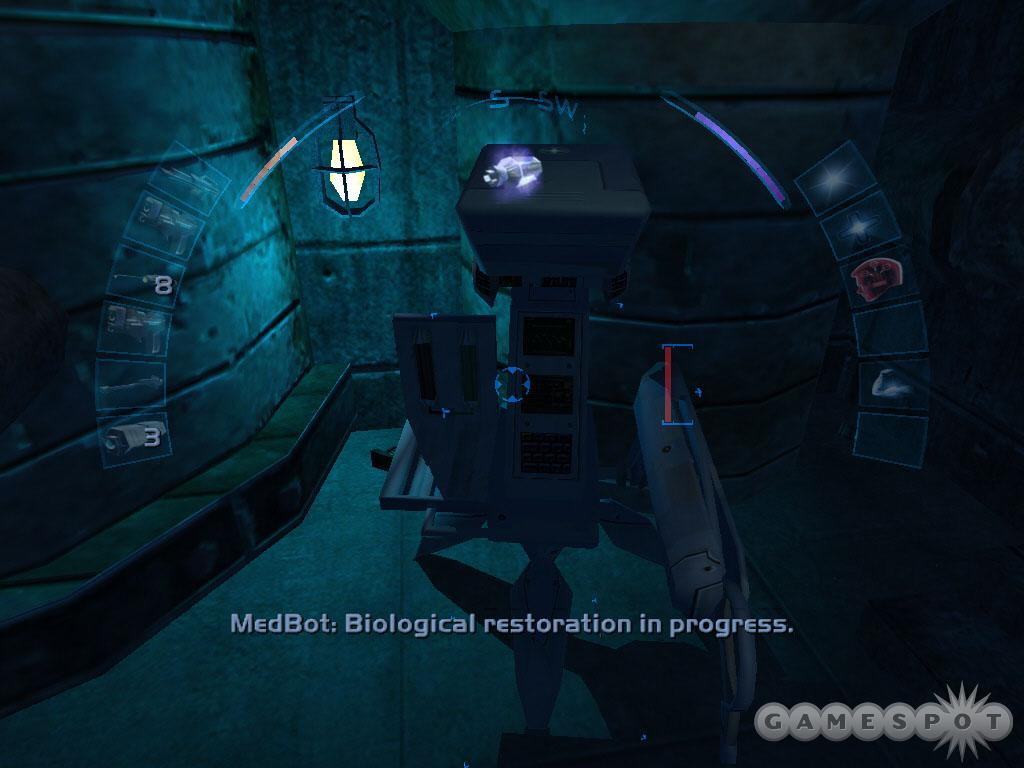 Enter the church basement to find a medbot willing to heal your wounds.