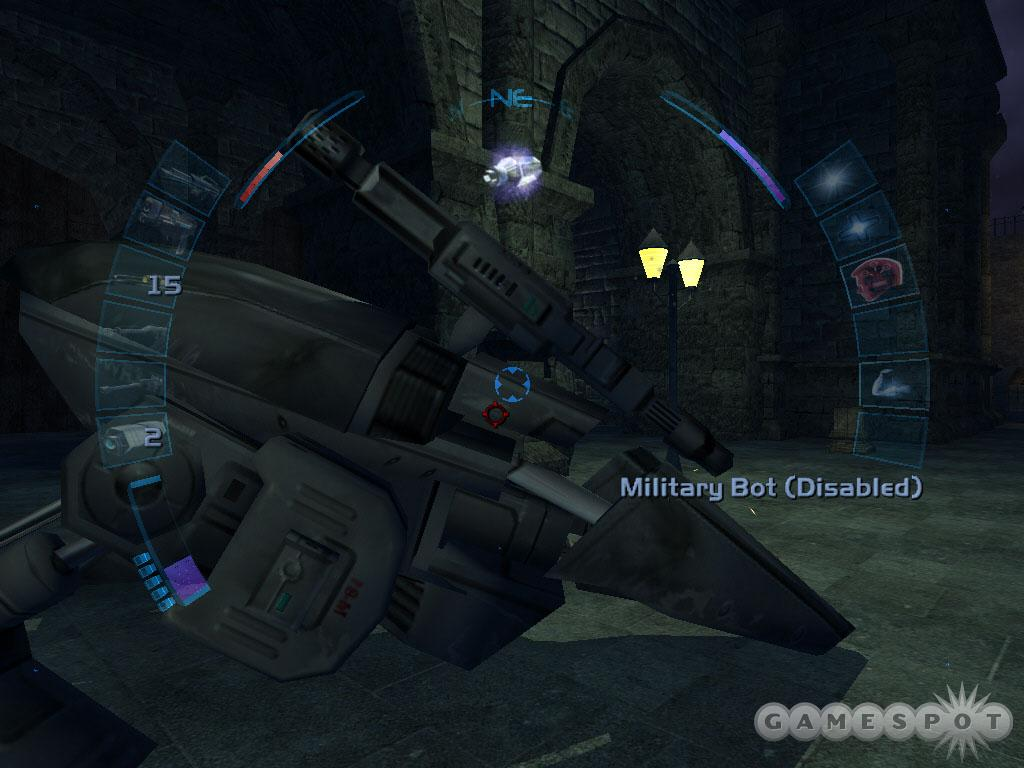 Beware of the military bot patrolling the Black Ruins.