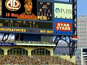 Stadiums have dynamic scoreboards and photographic displays.