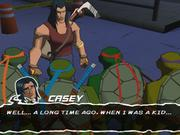 Teenage Mutant Ninja Turtles' graphical style is a vibrant, colorful, cel-shaded look, and it works well with the subject matter.