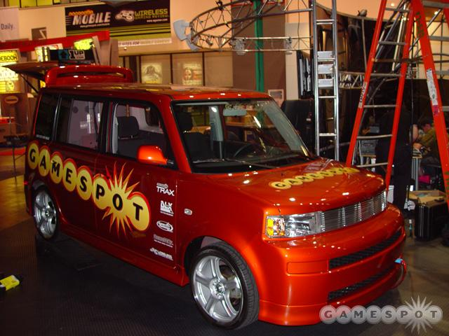 The GameSpot-themed car housed several consoles used for contest giveaways at the show.
