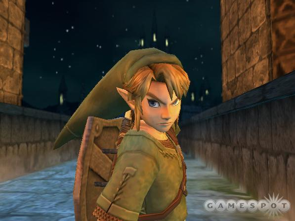 In spite of his wardrobe, Link gives a menacing look.