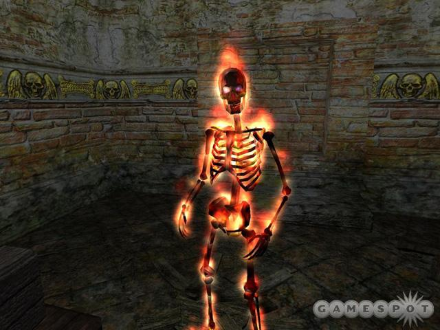 Burning skeletons are just one of the spectacular monsters you'll fight in EverQuest II.