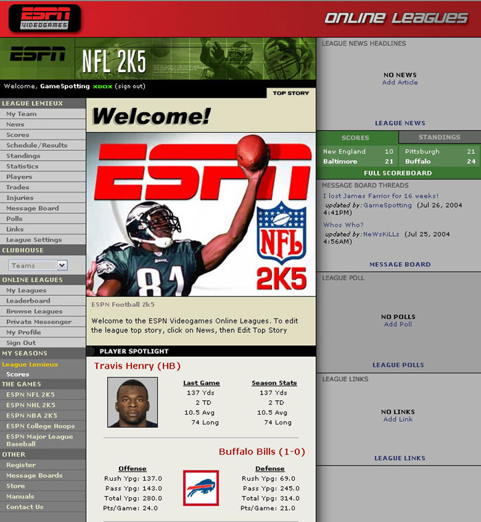 ESPN's league system allows you to track stats and standings online via custom web sites.