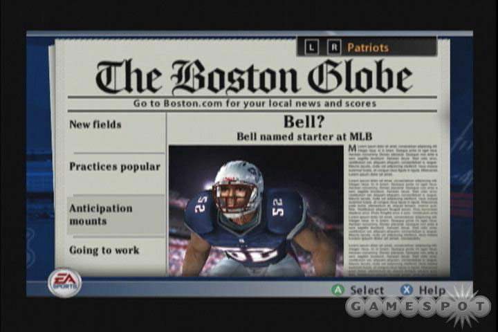 Storyline central, with real-life newspapers, adds to the overall ambience of Madden NFL 2005.