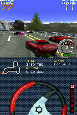 Ridge Racer DS is one of the few DS launch titles making interesting use of the handheld's touch-screen display...
