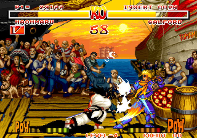Thanks to the fervor stemming from Mortal Kombat, the US home cartridge release of Samurai Shodown was censored. The red blood was turned white, and killing blows were removed.