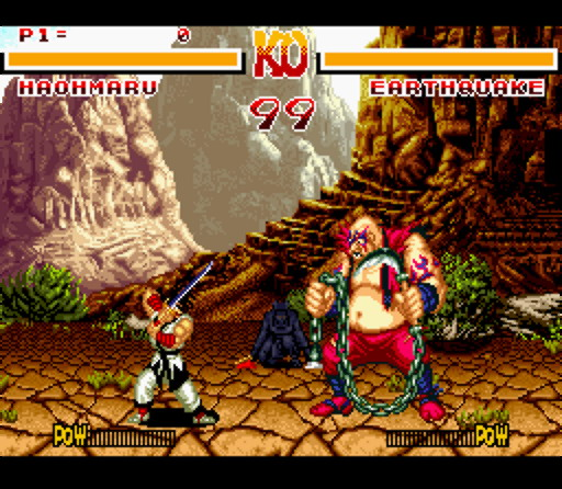 Samurai Shodown came to the Super NES without scaling graphics, and all of the blood was removed.