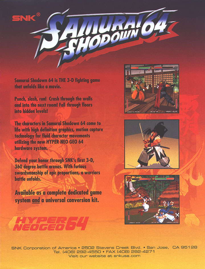 SNK produced versions of Samurai Shodown and Fatal Fury for its ill-fated Hyper NeoGeo 64 arcade hardware. Check out the full ad.