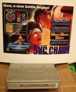 SVC Chaos for the MVS. Counterfeit. As of February 2004, SNK hadn't yet manufactured an MVS version of the game.