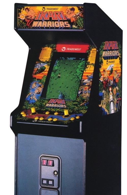 A stand-up arcade unit of Ikari Warriors.