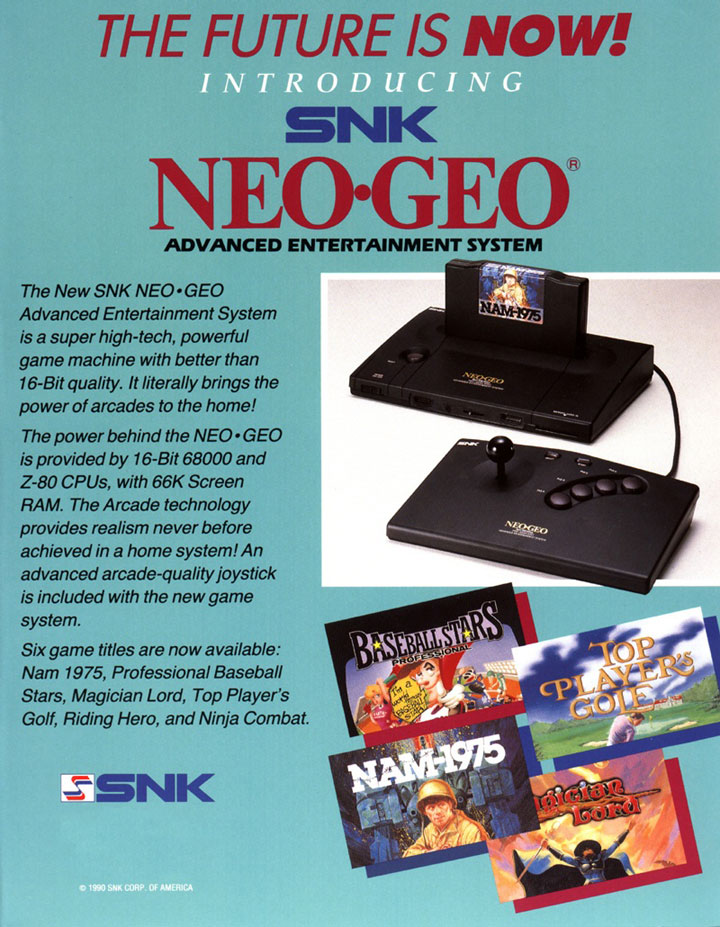 The Future is Now advertisement for the NeoGeo from 1990.