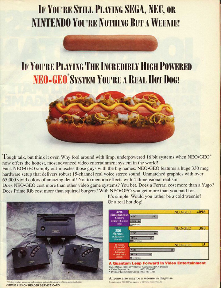 An advertisement asking people if they were happy with a weenie 16-bit system or would prefer the big dog 24-bit NeoGeo.